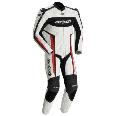 Cortech Latigo RR Mens 1-Piece Leather Street Racing Motorcycle Race Suit - WhiteRed  Medium
