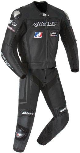 Joe Rocket Speedmaster 50 Mens Leather 2-Piece Motorcycle Race Suit BlackBlack Size 52