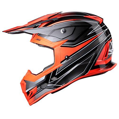 GLX Adult Outdoor High Performance Motocross ATV Dirt Bike Helmet Orange DOT M
