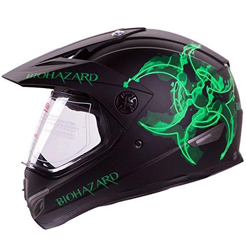 IV2 BIOHAZARD High Performance Dual Sport Motocross ATV Dirt Bike Helmet DOT XL