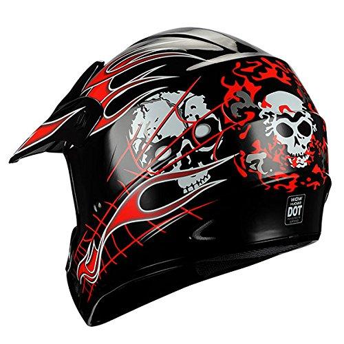 New Motocross ATV Dirt Bike BMX MX Adult Racing Red Skull Helmet  M