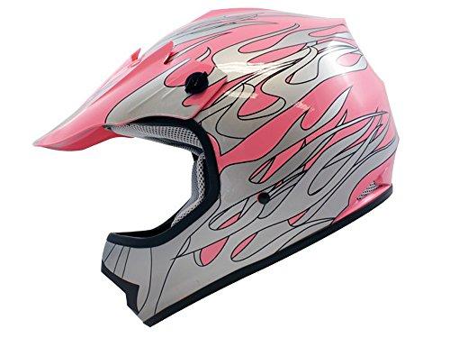 TMS Youth Kids Pink Flame Motocross Helmet Mx Atv Dirtbike Dot Small