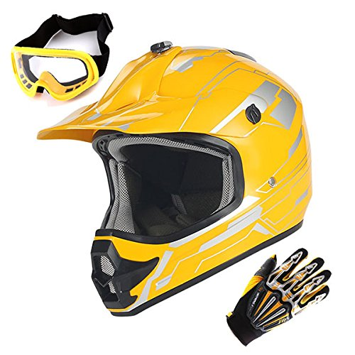 Youth Motocross Helmet MX BMX ATV Bike Kids Storm Yellow Helmet Size Medium  Goggle  Skeleton Glove Size Medium