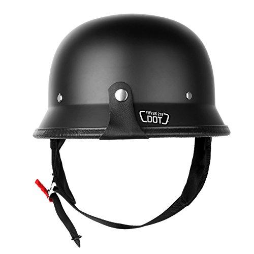 Iglobalbuy DOT Approved German Half Helmet Choooer Cruiser Custom Adult Motorcycle M