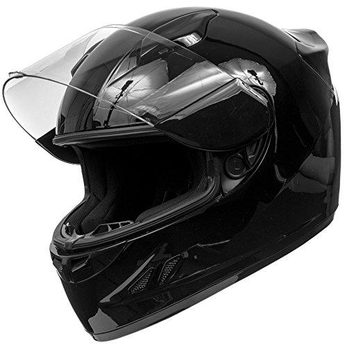 KOI DOT Motorcycle Helmet Full Face Sportbike KOI Gloss Black w Clear Visor - Small