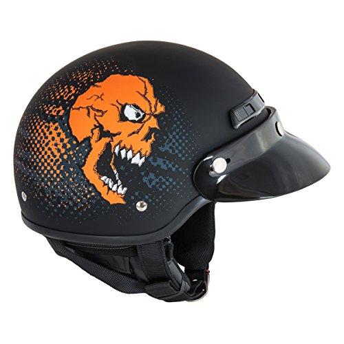 Raider Tour Pro Deluxe Half Helmet Orange Skull Large