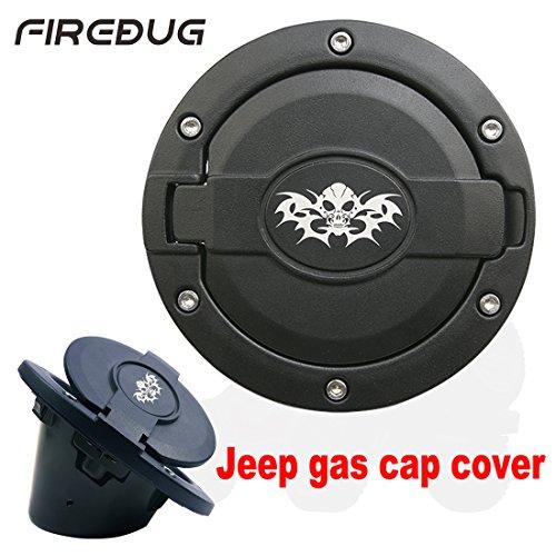 Firebug Jeep Gas Cap Cover Satin Black Powder Coated Steel Jeep Wrangler Fuel Door Cover Jeep Wrangler Accessories Jeep Wrangler Unlimited Accessories Jeep Wrangler 07-17 Sport Rubicon Sahara