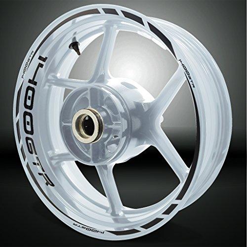 Kawasaki 1400 GTR Reflective Black Motorcycle Rim Wheel Decal Accessory Sticker