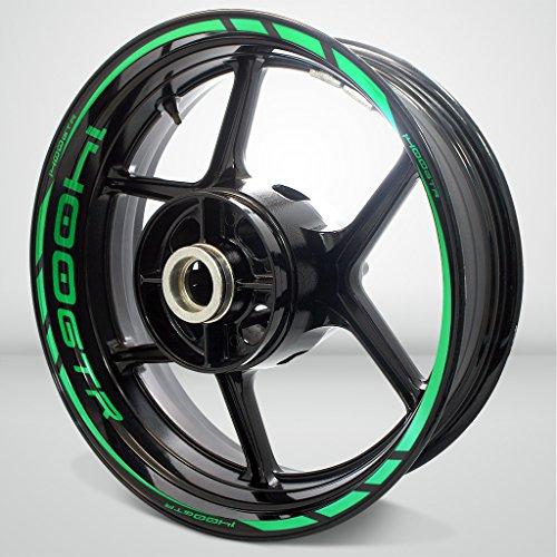 Kawasaki 1400 GTR Reflective Green Motorcycle Rim Wheel Decal Accessory Sticker