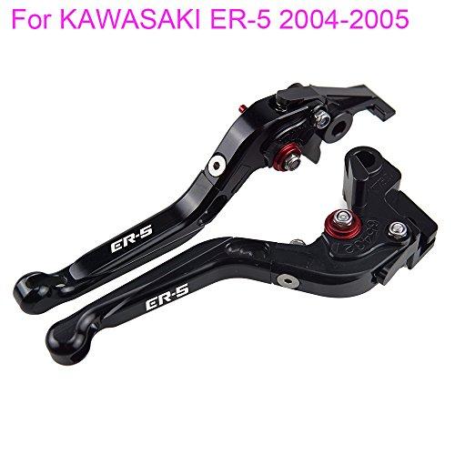 PRO-KODASKIN Folding Extendable Brake Clutch Levers for KAWASAKI ER-5 2004-2005 Black