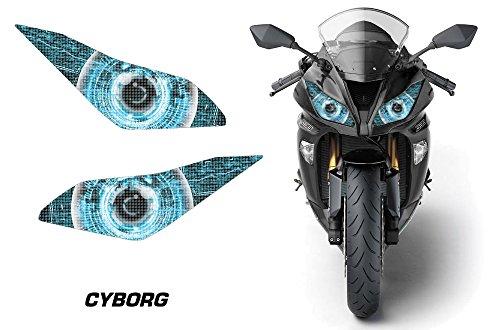 AMR Racing Sport Bike Headlight Eye Graphic Decal Cover for Kawasaki Ninja 636 13-14 - Cyborg Blue