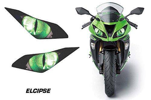 AMR Racing Sport Bike Headlight Eye Graphic Decal Cover for Kawasaki Ninja 636 13-14 - Eclipse Green