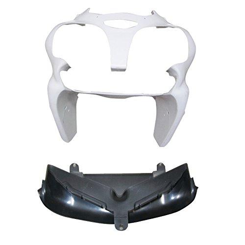 Zxmoto Unpainted Front Cowl nose fairing with Upper Splash Guard Bodywork kit for 00- 02 KAWASAKI NINJA 636 ZX-6R 600 2000 2001 2002