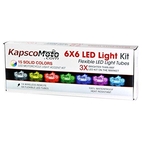 KapscoMoto Motorcycle 7 Color LED Accent Light Kit Remote For Kawasaki ZZR 600 1200 ZZR600 ZZR1200