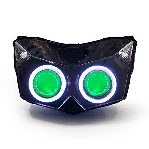 KT LED Angel Eye Headlight Assembly for Kawasaki Z750 2007-2010 Green Demon Eye
