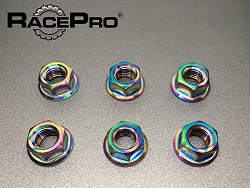 RacePro - Kawasaki Z750 2007 x6 Titanium Rear Sprocket Nuts -Rainbow