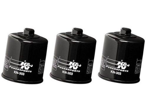 K&N Black Oil Filters Pack of 3 2007-2002 Kawasaki ZX600 Ninja ZX-6R  KN-303