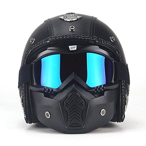 Open Face Vintage Motorcycle Helmet PU Leather Harley Helmets 34 Motorcycle Chopper Bike Helmet with Goggle Mask M57-58cm