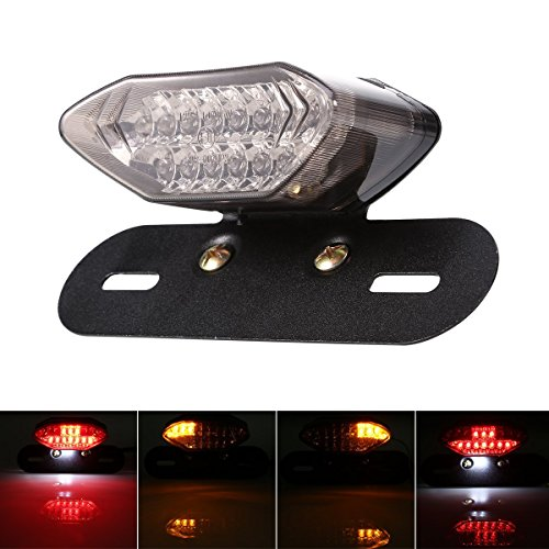 Custom Motorcycle Tail Light with turn signals  Universal 8W 12V LED Motorcycle Taillights Integrated License Plate Holder Brake Stop Lights for Harley Davidson Honda Yamaha Suzuki Kawasaki Triumph