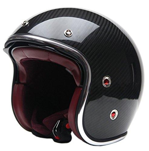 Motorcycle Open Face Carbon Fiber Helmet DOT Approved - YEMA YM-628 Motorbike Moped Jet Bobber Chopper Crash 34 Helmet with Sun Visor for Men Women Adult Street Bike Scooter Cruiser - Large