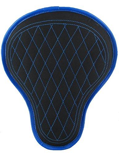 La Rosa Design 16 Harley Chopper Bobber Solo Seat - Black Canvas w Blue Diamond Stitching