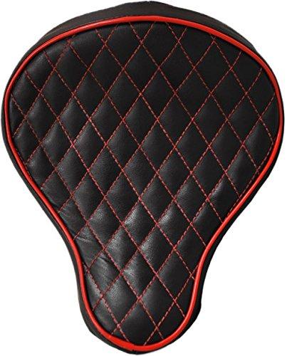 La Rosa Design Harley Chopper Bobber Solo Seat - Black with Red Diamond Tuk
