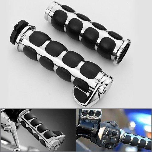 2x Chrome Billet Aluminum Bar End Cap Black Soft Gel Rubber Hand Grips w Palm Rest Fits Custom Motorcylce 78 Handlebar