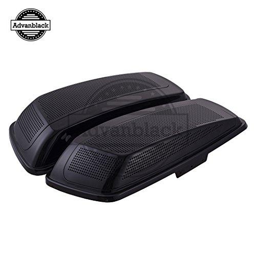 Us Stock Advanblack VividGlossy Black Dual 6x9 inch Saddlebag Speaker Lids Fit for 2014 Harley Hard SaddlebagsAdvanblack Stretched Bags