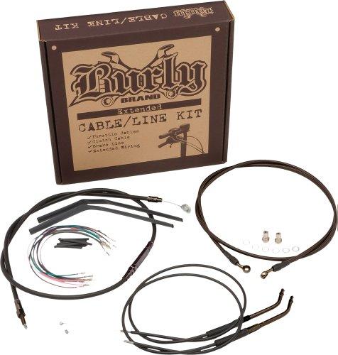 Burly Brand Black 14 Ape Hanger CableBrakeWiring Kit