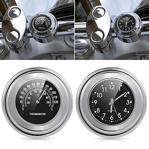 DLLL Universal Waterproof Motorcycle Motorbike 78 1 Motorcycle Handlebar Chrome Black Dial Clock Temp Thermometer Handlebar Clock Watch for Yamaha Harley DavidsonsSuzukiHondaKawasaki Cruisers