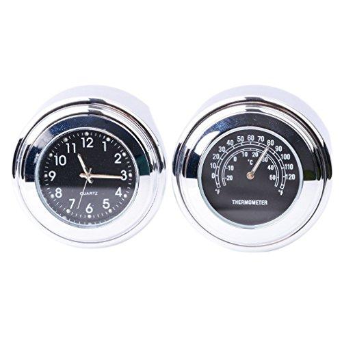 FICBOX 2 in 1 Universal Motorcycle Handlebar Clock and Thermometer Waterproof Black Dial Noctilucent 78 1 Handlebar Mount for Yamaha Kawasaki Honda Suzuki Harley Davidson - 2 in 1 Black