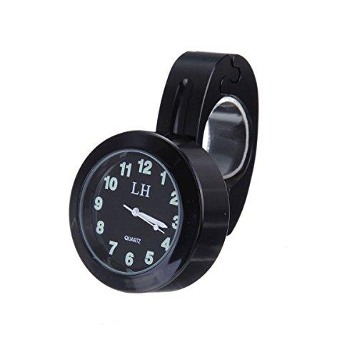KUMEED 78 1 Motorcycle Handlebar Chrome Black Dial Clock for Yamaha Kawasaki Honda Suzuki Harley Davidson Style02 Black