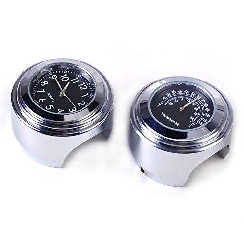SAVEMORE4U18 78 1 Motorcycle Handlebar Black Dial Clock Temp Thermometer Gauge Waterproof For Yamaha Kawasaki Honda Suzuki Harley Davidson