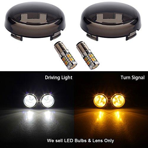 NTHREEAUTO Turn Signal Lights Smoke Lens w LED Bulbs for Harley Davidson Dyna Fatboy Softail Sportster 883