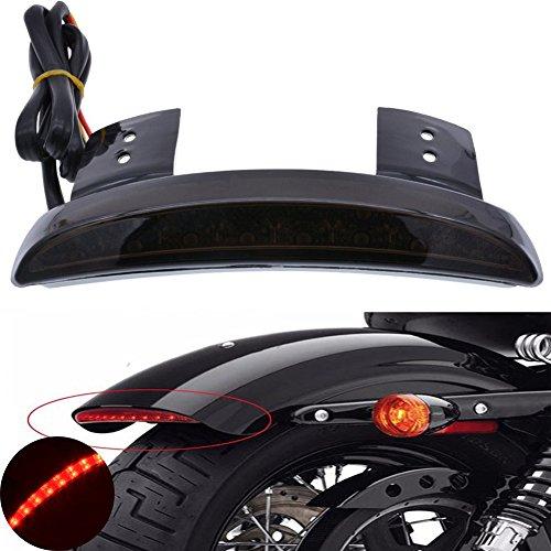 TUINCYN Motorcycle Smoke Lens Chopped Rear Fender Edge Plate Tail Brake License LED light Replacement Light Stop Running Light for Harley Sportster XL883N 1200N XL1200V XL1200X