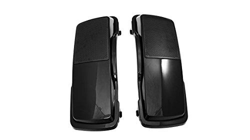 Vivid Black 6 x 9 Hard Saddlebag Speaker Lids with Raw Black Grills for Harley Touring SP-L-001