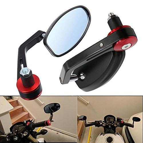Frenshion 78 22mm Motorcycle Handlebar End Mirrors Motorbike Aluminum Rearview Mirrors Side Mirrors for Yamaha Honda Triumph Ducati Black