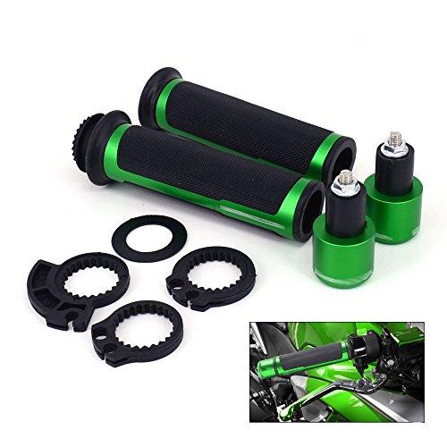 JFG RACING Motorcycle 78 Aluminum Rubber Handlebar Grips With Bar Ends Caps Plugs For KAWASAKI NINJA 250R ZX6R 636 ZX6RR ZX10R ZX7R ZX9R ZX12R ZX14R -Green