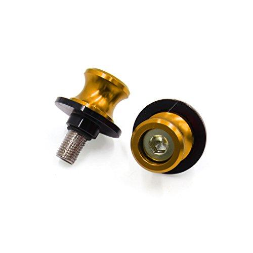 uxcell 2Pcs 38 Thread Dia Aluminium Alloy Motorcycle Handlebar End Cap Bar Grip Gold Tone