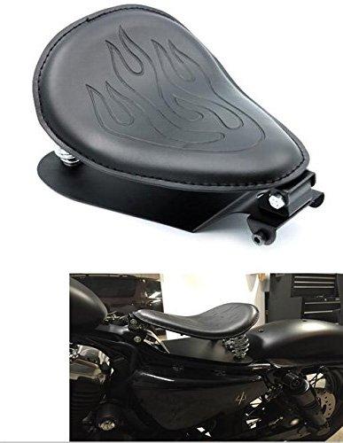 Motorcycle Fans Black Leather Flame Solo Spring Bracket Seat Base Mount Kit Barrel Spring For Harley Sportster