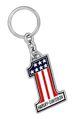 HARLEY-DAVIDSON Key Chain 1 American Flag Metal Key Fob Silver HDKD153
