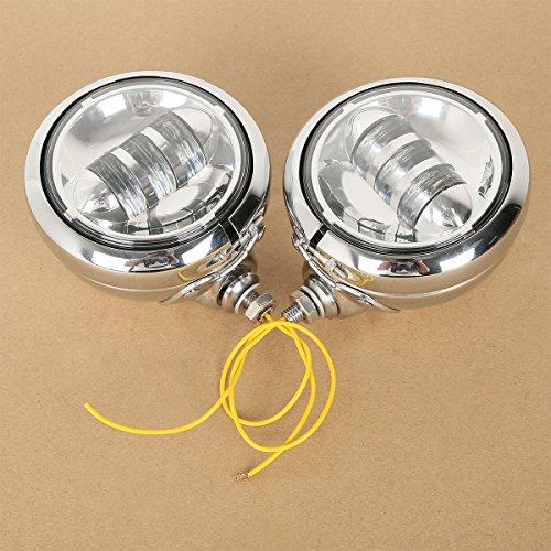 XFMT Chrome 4-12 LED Auxiliary Fog Passing Lights Lamp W Housing Bucket For Harley