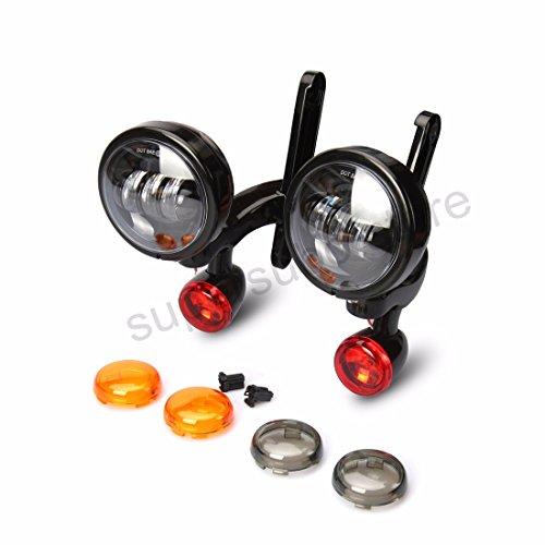 bullet turn signal light harley LED Spotlight Fog Light Bracket For Harley Street Glide passing light gloss black frame