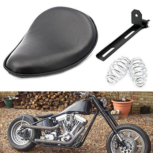 Motofans Black Flame Leather Solo Seat For Motorcycle Motorbike Chopper Bobber Custom Sportster 883 1200
