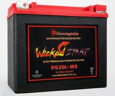 RG20L-WS Wicked Start 500 CCA Battery Harley 1999 Sportster 883 Sporster 883 Custom Sportster 883 Hugger Part 16L-BS BTX20L-BS ES20LBS YTX20L-BS 65989-97ABC