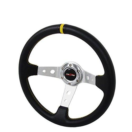 350mm Deep Dish Steering Wheel 6 Bolt Universal Custom Chrome Yellow