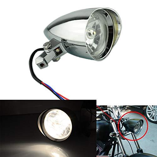Beautyexpectly Motorcycle Head Light Aluminum Visor Bullet Headlight Lamp for Harley Sportster XL Dyna Softail Bobber FXR FXST Chopper Bobber Custom Chrome