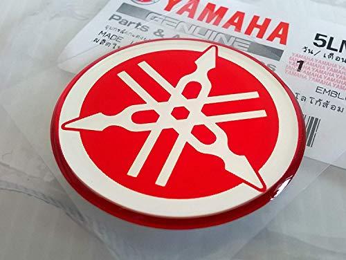 YAMAHA 5LN-F313B-09-RE - Genuine 40MM Diameter Tuning Fork Decal Sticker Emblem Logo Red Raised Domed Gel Resin Self Adhesive MotorcycleJet SkiATVSnowmobile