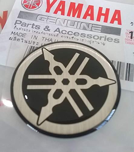 Yamaha 5HV-F3108-20 - Genuine 30MM Diameter Yamaha Tuning Fork Decal Sticker Emblem Logo Black  Silver Raised Domed Gel Resin Self Adhesive Motorcycle  Jet Ski  ATV  Snowmobile