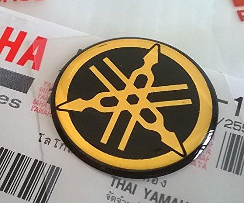 Yamaha 5P0-F1737-10 - Genuine 25MM Diameter Yamaha Tuning Fork Decal Sticker Emblem Logo Gold  Black Raised Domed Gel Resin Self Adhesive Motorcycle  Jet Ski  ATV  Snowmobile
